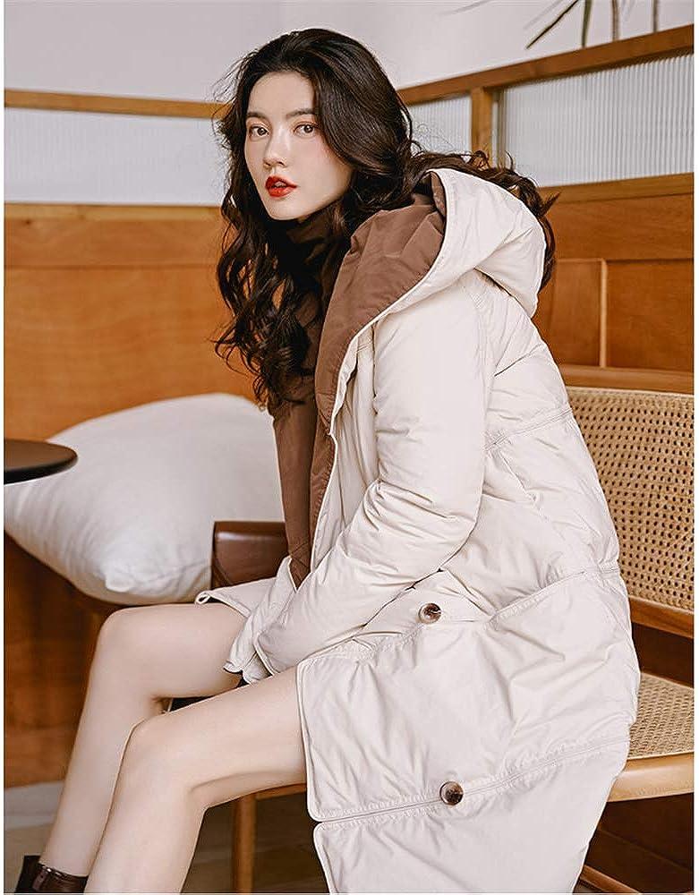 Oowjj Parka Piumino Invernale da Donna Leggermente Reversibile Indossare Cappotto Invernale Caldo Lungo Sciolto con Cappuccio Apricot