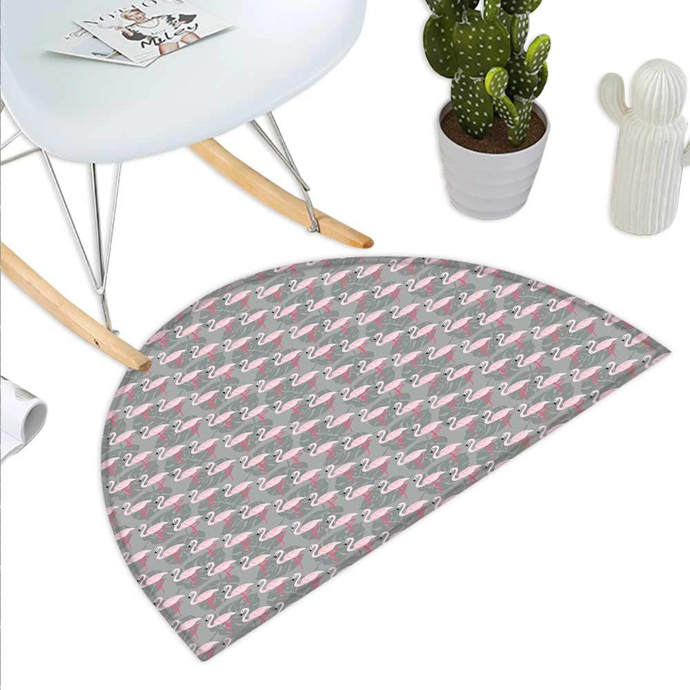 color05 H 23.6  xD 35.4  Flamingo Semicircle Doormat Flamingos Pattern Leaves and Flowers Tropical Plants on The Background Halfmoon doormats H 27.5  xD 41.3  Black Grey Pale Pink