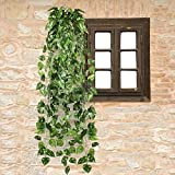 Ecloud Shop PIANTA EDERA CADENTE ARTIFICIALE FOGLIE VERDI LUNG.90CM