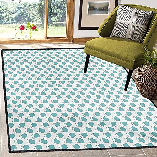 Turquoise, Area Rug for Living Room, New Years Christmas Theme Winter Snow Gloves with Furry Borders Image, Bath Mats for Floors 6x9 Ft White and Pale ()