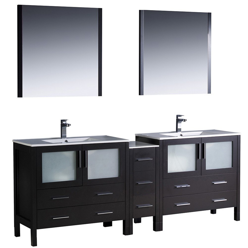 fresca bath fvnesuns torino  double sink vanity with  - fresca bath fvnesuns torino  double sink vanity with sidecabinet
