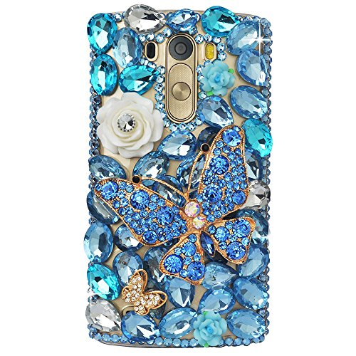 Price comparison product image LG K7 Case,  LG Tribute 5 Case,  STENES 3D Handmade Crystal Butterfly Rose Flowers Sparkle Rhinestone Bling Cover for LG K7 / Tribute 5 / Escape 3 / Treasure / Phoenix 2 with Retro Anti Dust Plug - Blue