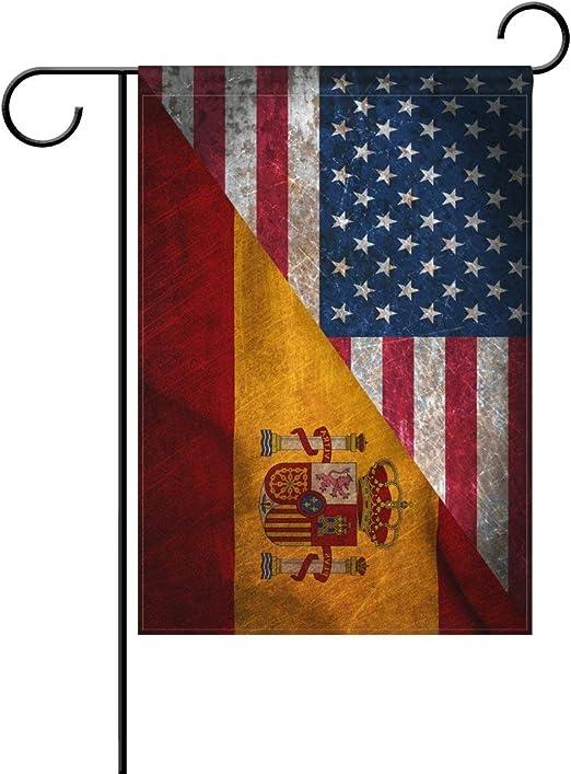 YATELI Combinación de Amistad de Doble Cara Retro España EE. UU. Un día de Memorial Poliéster Casa Jardín Bandera Bandera 28x40 Pulgadas para Aniversario Decoración de jardín Familiar: Amazon.es: Jardín
