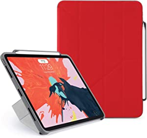 PIPETTO 2018 Smooth iPad Pro 11 Ruggedised Pencil Case Pencil 2 Sync and Charge Defender Stand Shell Cover for Apple 5 in 1 Folding Position with Auto Sleep/Wake Function - Red