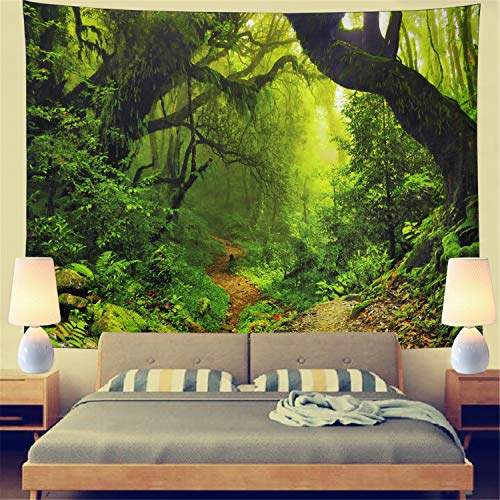 (Rainforest Landscape Tapestry Forest Road Tapestry Wall Hanging Trees Tapestry Nature Misty Rainforest Tapestry Bohemian Psychedelic Wall Tapestry for Bedroom Living Room Dorm(Rainforest,59