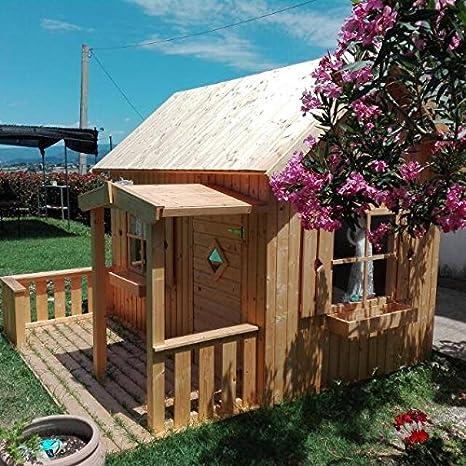Italfrom - Casita de jardín para niños hecha madera de abeto, 16 mm, 3,6 m², 180 x 220 cm: Amazon.es: Hogar