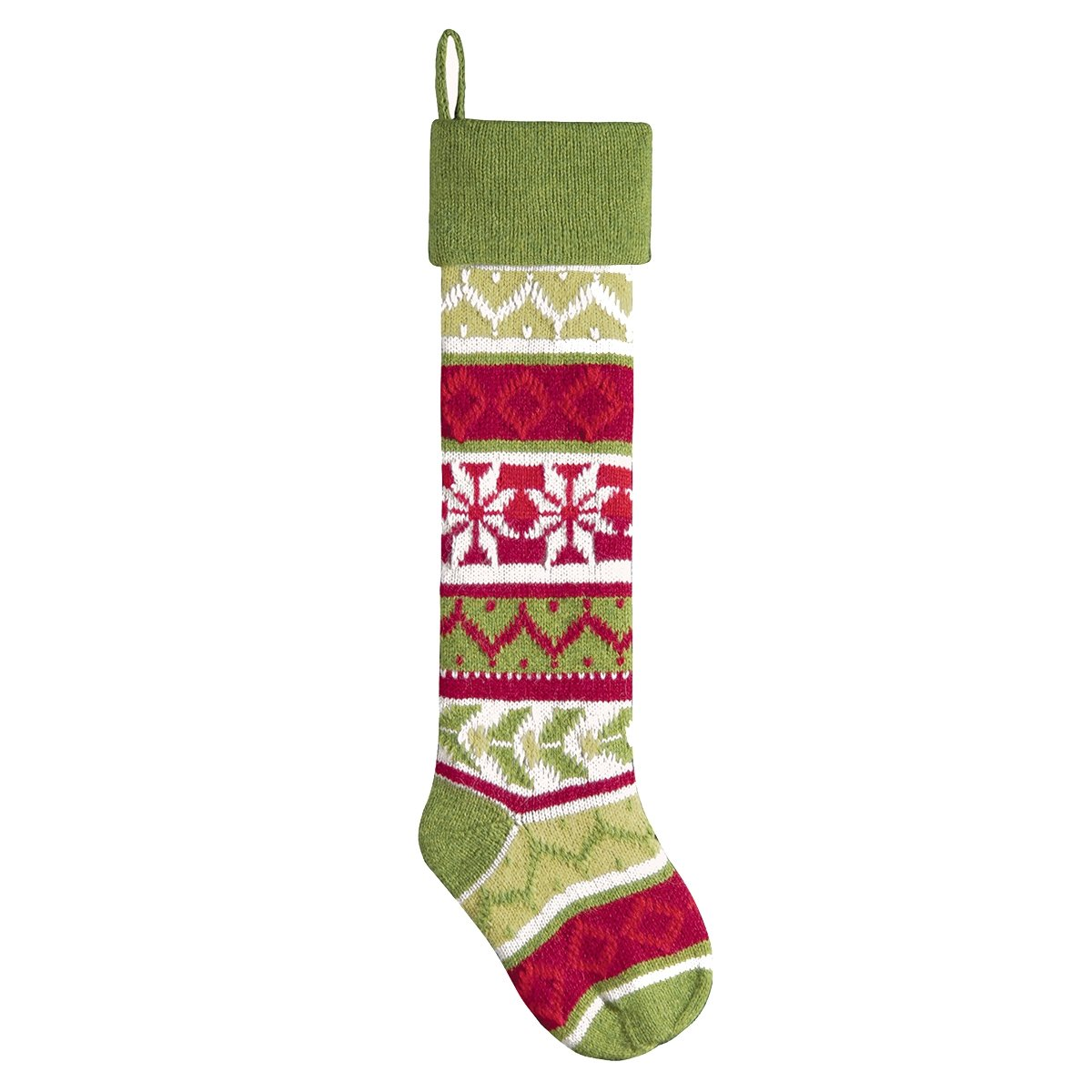 6.5'' x 27.5'' Handcrafted Oversized Green Knit Stocking
