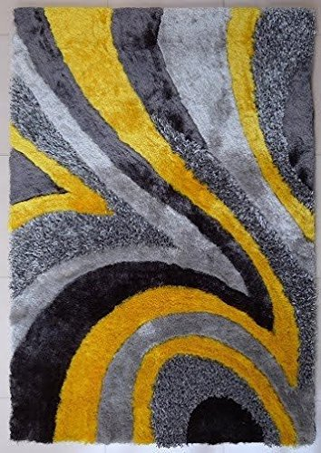CHIC RUGZ Design 26 Gray Yellow 100% Polyester Modern Hand Tufted Shag Area Rug, 2′ x 3′