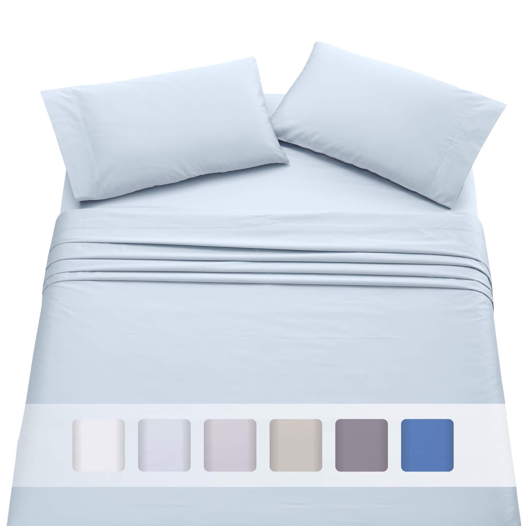 California Design Den Extra Deep Pocket Sheet Set - 500 Thread Count Long Staple Cotton Queen Size Light Blue Sheet Set, Soft & Sateen Weave 4 Piece Bedding Set