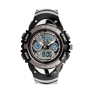 70cb7a287 Cool Kids Analog Digital Sports Watch Grey Children's Silicone Band Dual  Time Zones Fashion Watch Gift