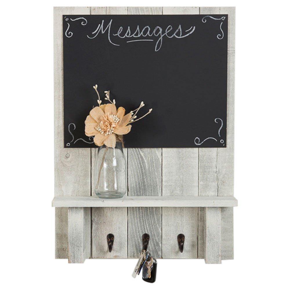 Chalkboard Display Shelf Key Hooks   Wall Mount   Handmade Rustic Reclaimed Wood   24 x 17.5 Inch - Whitewash