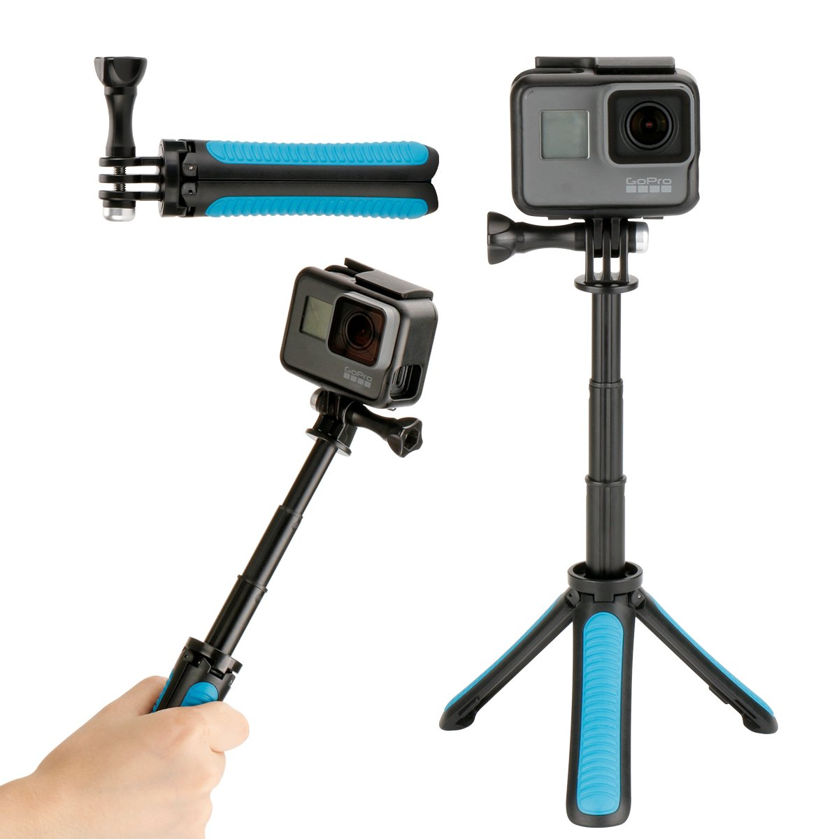 Ulanzi Gopro Waterproof Hand Grip Adjustable Extension Selfie Stick Handheld Monopod for GeekPro/GoPro HD Hero 6 5 4 3+ 3 2 1, AKASO, SJCAM SJ4000 SJ5000 Xiaomi Yi(with Wrist Strap and Screw)