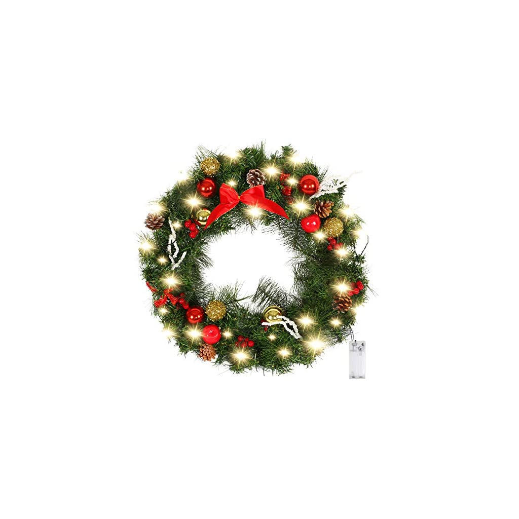 Valdler-22-Inch-LED-Lights-Christmas-Wreath-with-Spruce-Silver-Bristle-Cones-OrnamentsRed-Berries-Winter-Snow-Garland