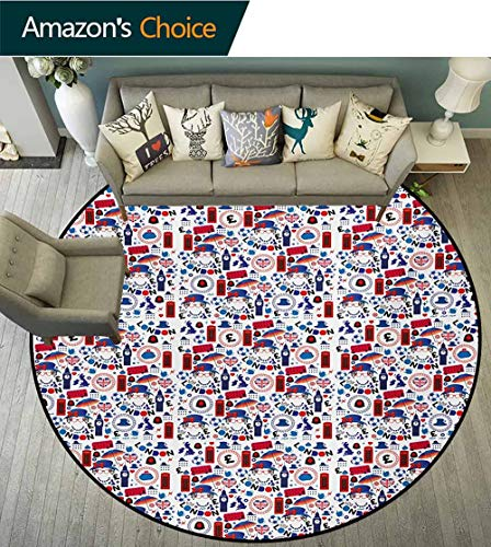 RUGSMAT Modern Washable Round Bath Mat,Funny Monkey Hanging from Tree and Holding Banana Jungle Animals Theme Print,Non-Slip Bathroom Soft Floor Mat Home Decor Diameter-71 Inch Chocolate White