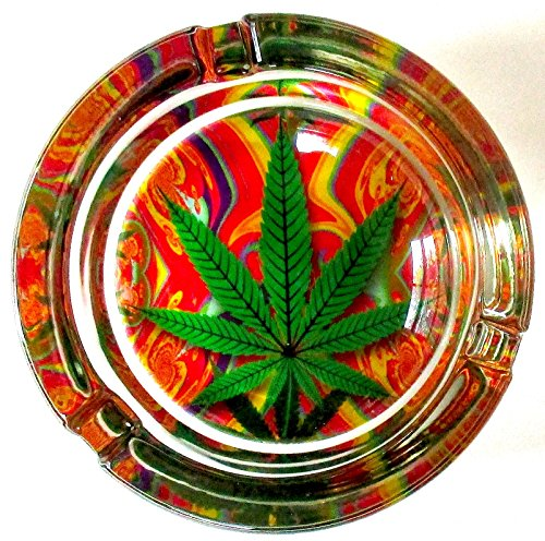 Marijuana-Weed-Tye-Dye-Psychedelic-Round-Glass-Ashtray