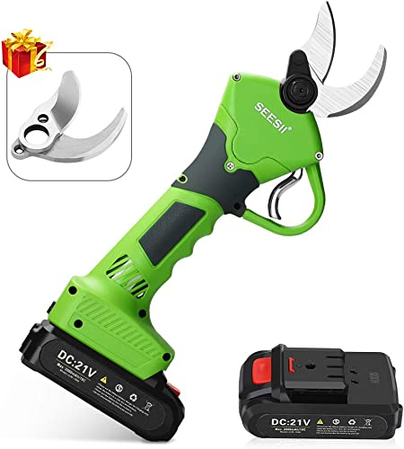 Seesii Professional Cordless Electric Pruning Shears,2Pcs 2Ah Backup Rechargeable Lithium Battery Powered Tree Branch Pruner,30mm 1.2 Inch Cutting Diameter,with Spare Blade