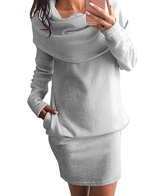 Herbst Damen Minikleid langarm Partykleid Einfarbig Sweatkleider ...