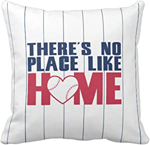 Emvency Throw Pillow Cover Ball There's No Place Baseball Heart Pinstripe Decorative Pillow Case Home Decor Square 20 x 20 Inch Pillowcase
