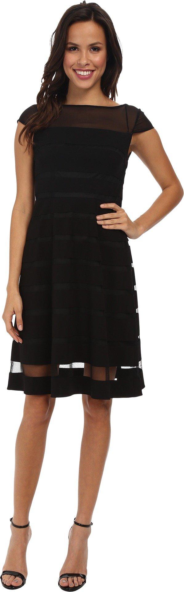 Adrianna Papell Women's Gradiated Chiffon Bands Dress, black, 12