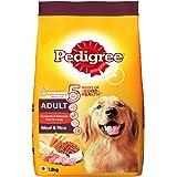Pedigree Adult Dry Dog Food, Meat & Rice, 1.2kg Pack