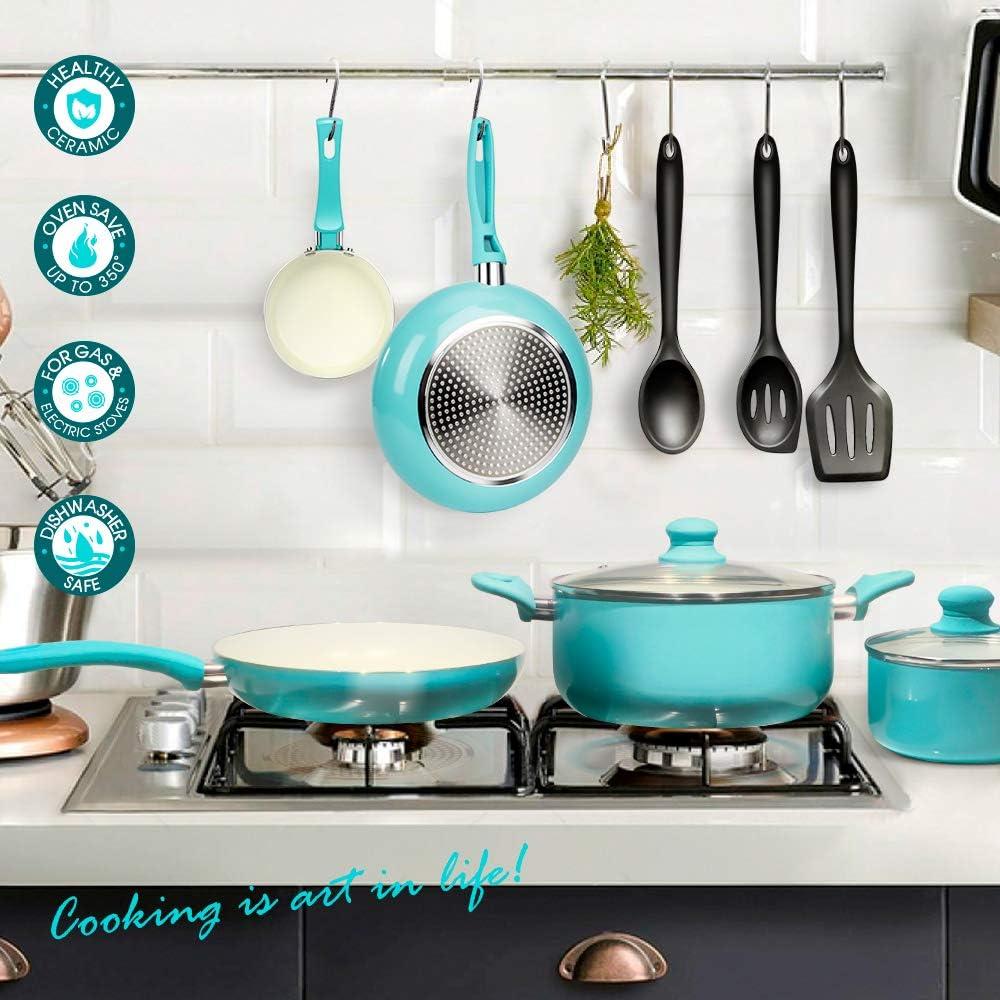 Masthome Lot de 10 casseroles et po/êles en Aluminium avec plaques /à Induction en c/éramique