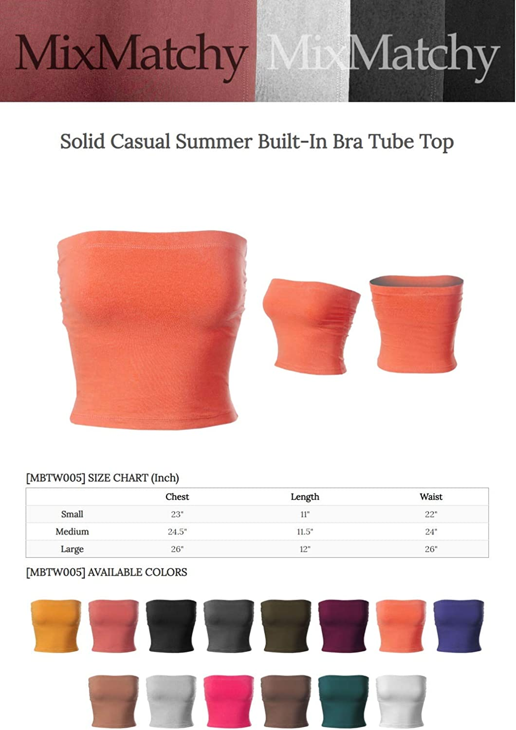 MixMatchy Womens Solid Casual Summer Side Shirring Scrunched Built-in Bra Tube Top