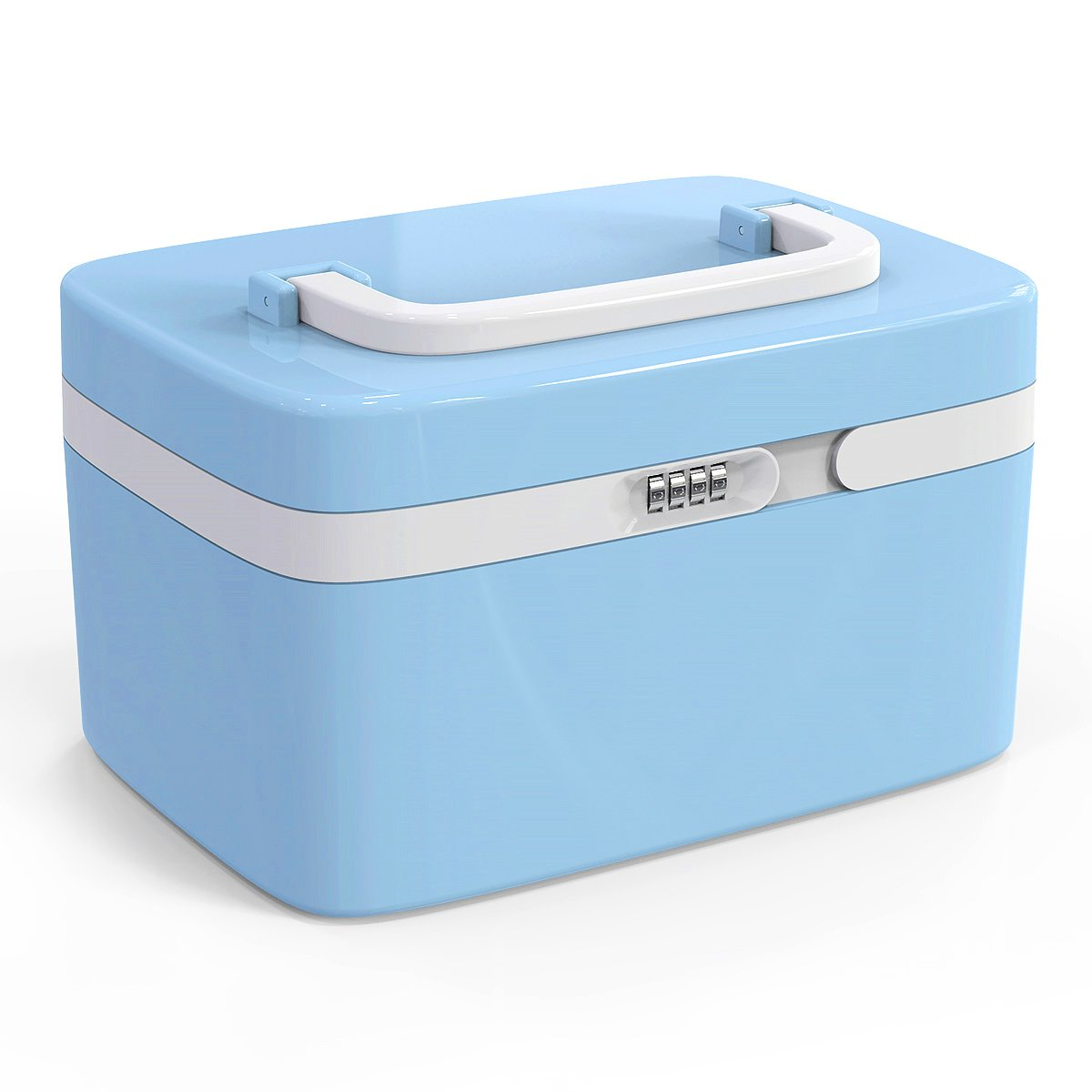 Locking Medicine Box, EVERTOP Household First Aid Kit Multifunctional Storage Box with Separate Compartments,Locking Prescription Pill Case,Child Proof Storage Box (Cyan)