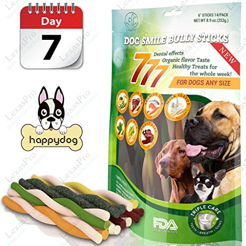 LexasPro Best 777 Dog Smile - Premium Dental Dog Treats: 7 Dental Effects, 7- Flavors, 7-Healthy Treats for The Whole Week! Natural Dog Treats FDA - Approved for Dogs Any Size!