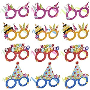Happy Birthday Glasses - 12-Pack Paper Party Eyeglasses Frames, Birthday Party Supplies, Novelty Decoration Photo-Booth Prop Party Favors for Children and Adults, 4 Assorted Design with 3 Each