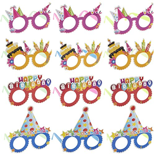 Happy Birthday Glasses - 12-Pack Paper Party Eyeglasses