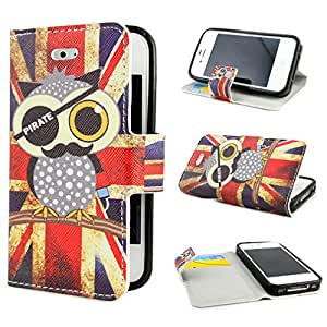 TUTUWEN Painting Art Design Wallet PU Leather Stand Flip Case Cover for Apple iphone 4 4S