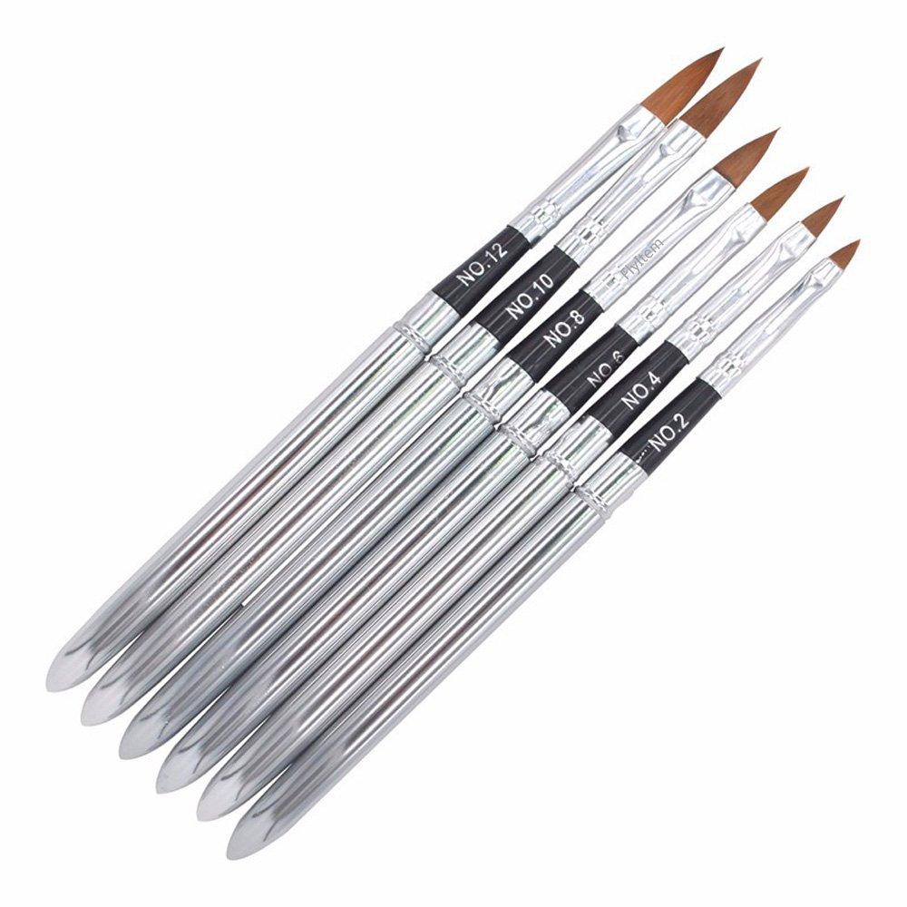 FlyItem 6 Pcs/Set Professional Pointed Detachable UV Gel Brushes Set Acrylic Nail Art Design Builder DIY Nail Tools Nail Gel Nail Art Brush Pen Makeup Cosmetic Tool