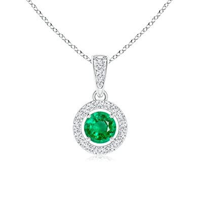 Angara Round Emerald Pendant for Women in White Gold NJwscMt2