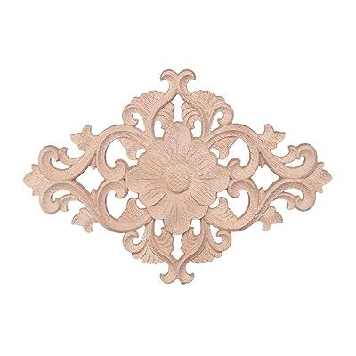 KOVIPGU Floral Wooden Carved Corner Onlay Applique Frame Decor Furniture Unpainted Home: Home & Kitchen