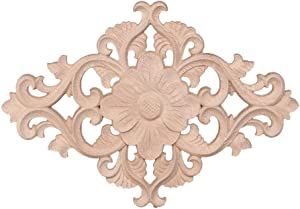 BloomingJS Floral Wooden Carved Corner Onlay Applique Frame Decor Furniture Unpainted Home