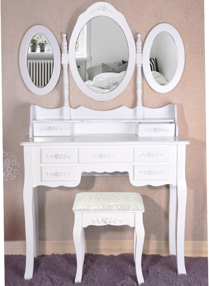 7 Tiroirs et 3 Miroirs Ovale pour Chambre Noir Poids: 21 kg ANABELLE Coiffeuse Meuble en MDF avec Tabouret Taille: 89 x 39 x 143 cm