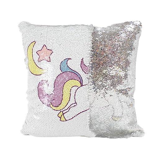 ELAN MILRE - Cojín con diseño de Unicornio arcoíris con ...