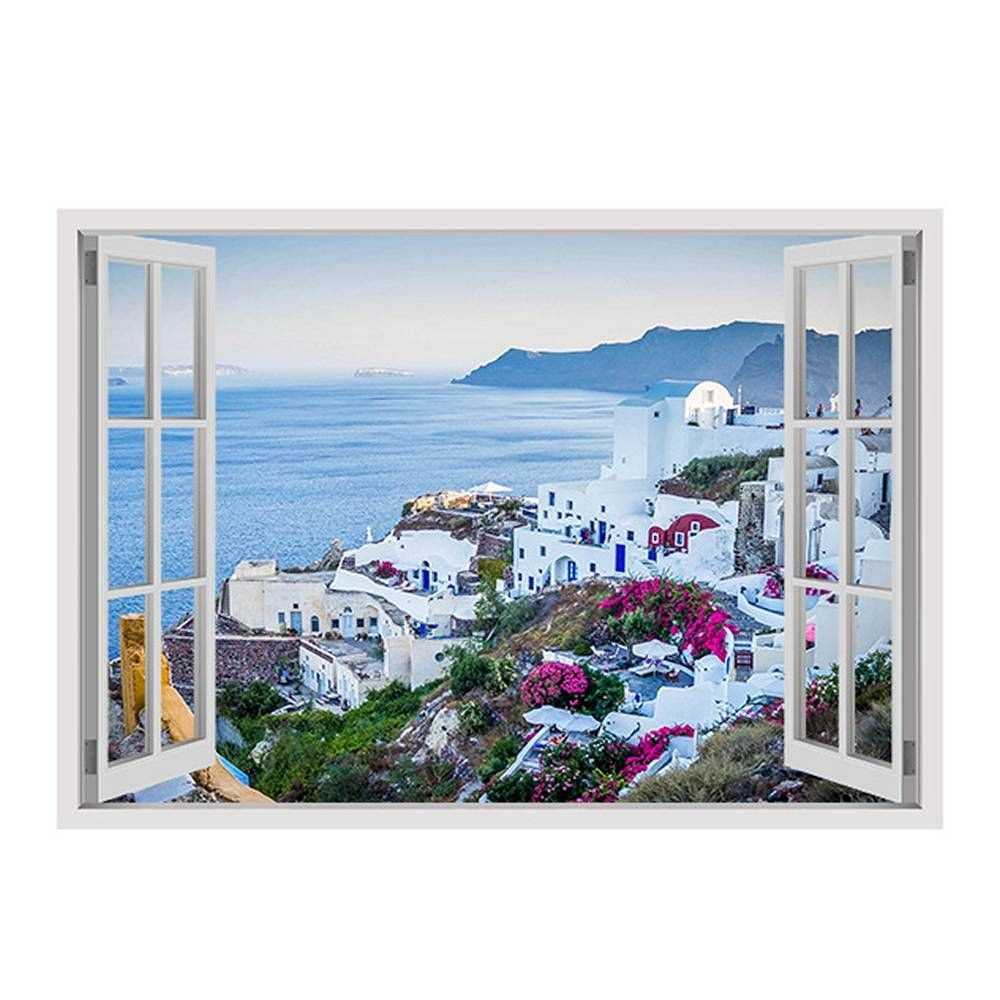 Alonline Art - Santorini Greece Sunset by Fake 3D Window | framed stretched canvas on a ready to hang frame - 100% cotton - gallery wrapped | 39''x28'' - 100x71cm | Wall art home decor for home HD