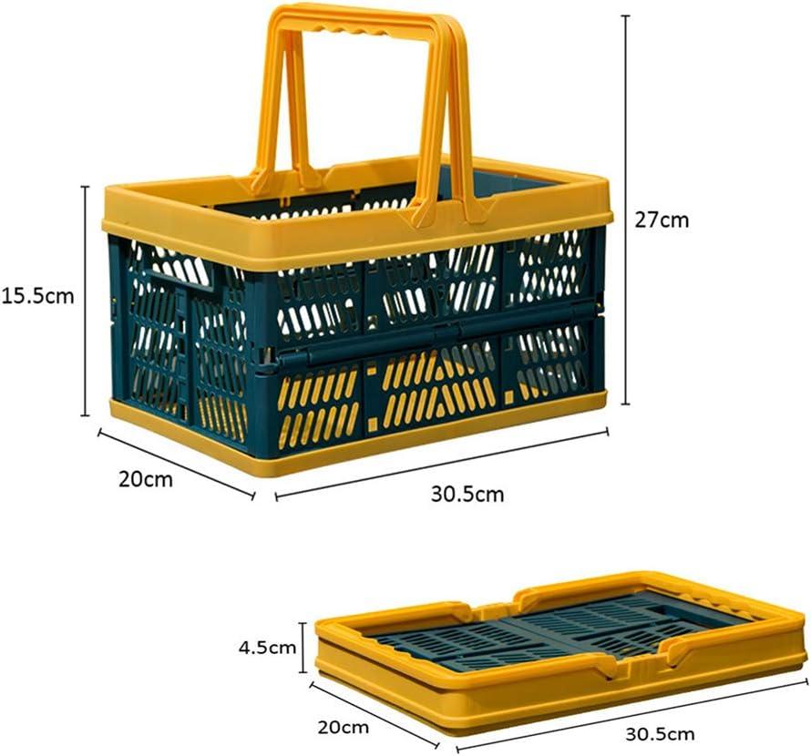 estable amarillo//verde cesta de p/ícnic para camping o coche pl/ástico grande Geagodelia Cesta plegable con asa plegable 1 unidad