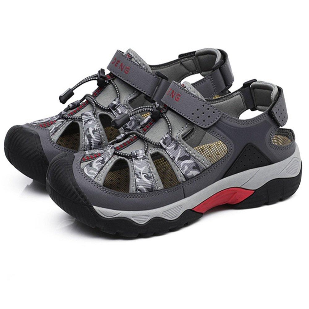 Wangcui Sandalen Herren Outdoor Breathable Freizeitschuhe Leder Sandalen Kollision Breathable Outdoor Schuhe (Farbe : Grau, Größe : 42 EU) Grau 4ba769
