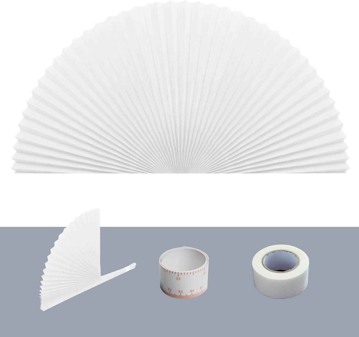 """Arch Window Pleated Blinds Easy Cut and Install Pleated Shades Fliterling Linght and Blackout Blinds White 72"""" X 36"""" (White)"""