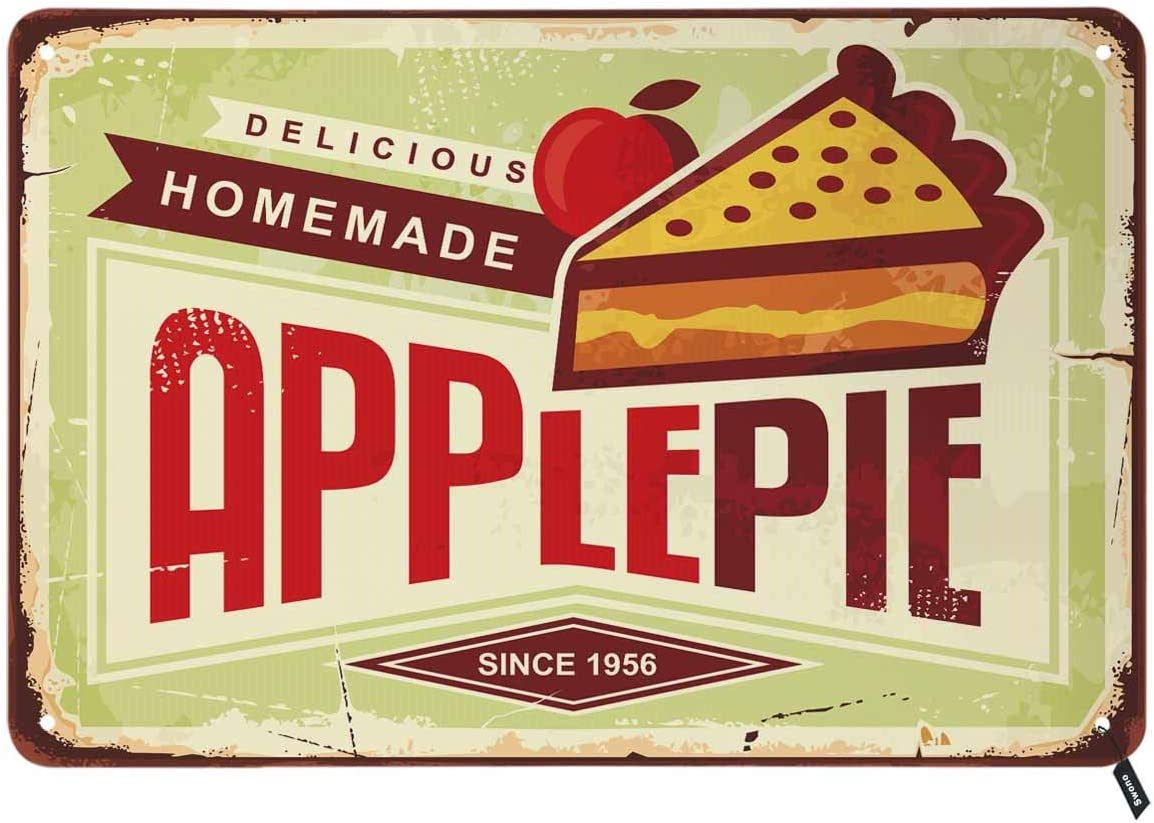 Swono Apple Pie Tin Signs,Delicious Homemade Vintage Metal Tin Sign for Men Women,Wall Decor for Bars,Restaurants,Cafes Pubs,12x8 Inch