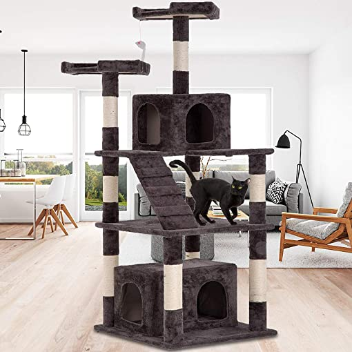 Dkeli 64 Cat Tree Tower Condo Furniture Kitty Activity Tree with Sisal Scratching Post, Perches, Cave, Funny Toy, Multi Level Big Cat Play House Bed for Kitten, Kitty, Cat, Pet – Gray