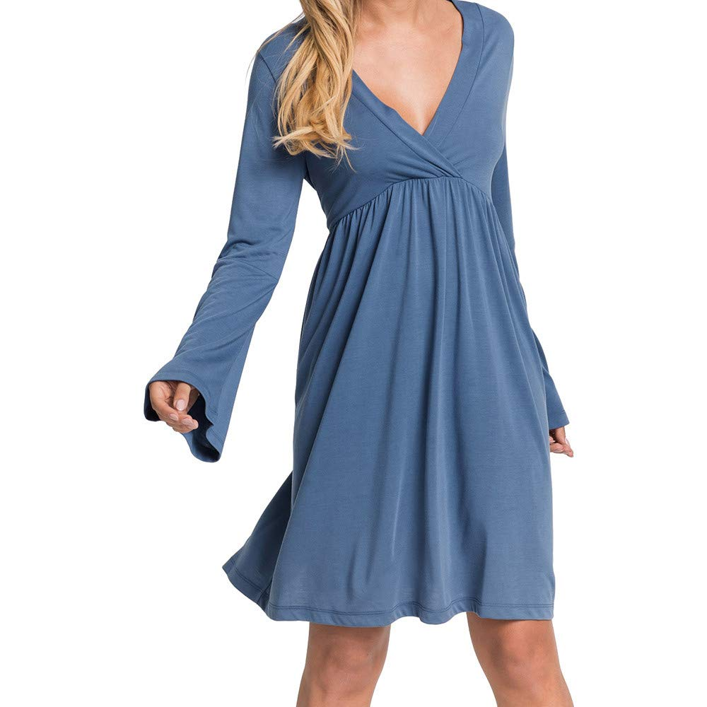 Women's Dresses - Clearance ShenPr Womens V-Neck Pleated Flare Sleeve Ruffled High-Waist Casual Dress