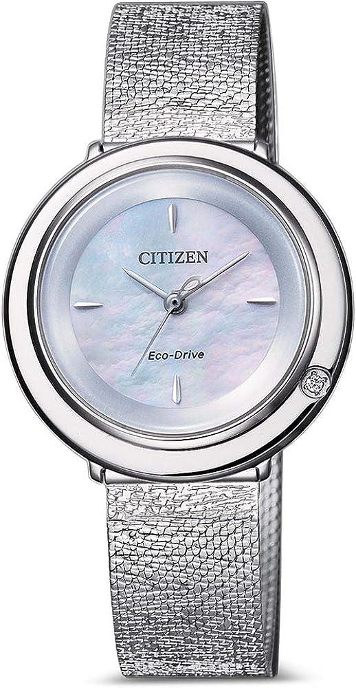 Citizen Eco-Drive Ambiluna - Reloj analógico para Mujer con Correa de Acero Inoxidable