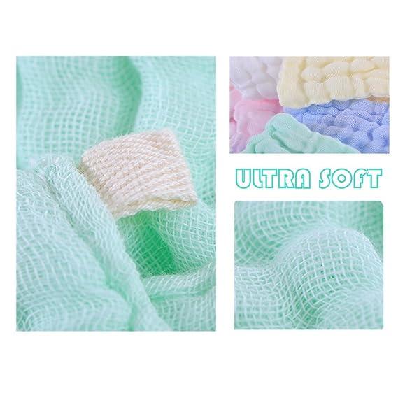 Toallitas para bebé de muselina - Leepem baby Toallitas de algodón para bebé con muselina natural - Toalla suave para bebé recién nacido para pieles ...