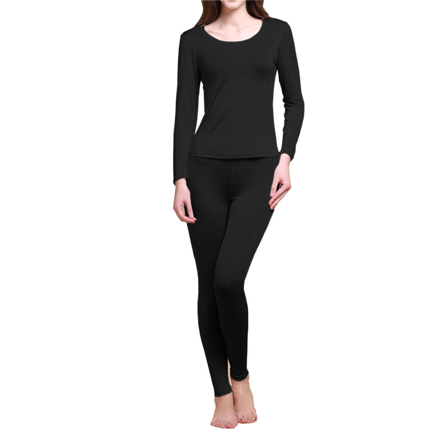 Paradise Silk Pure Silk Knit Women Underwear Long Johns Top and Bottom Set[US10,Black]