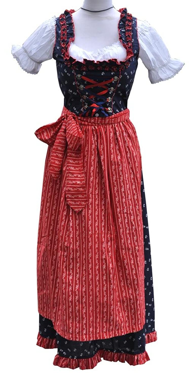 3 tlg. Dirndl Trachtenkleid Lang 80 cm Blau Rot - Anna