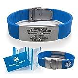 Silicone Sport Medical Alert ID Bracelet - Blue