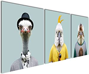 Gardenia Art - Animal World Series 7 Birds Ostrich Parrot and Eagle Canvas Prints Modern Wall Art Paintings Bird Giclee Artwork for Room Decoration,16x16 inch, Stretched and Framed …